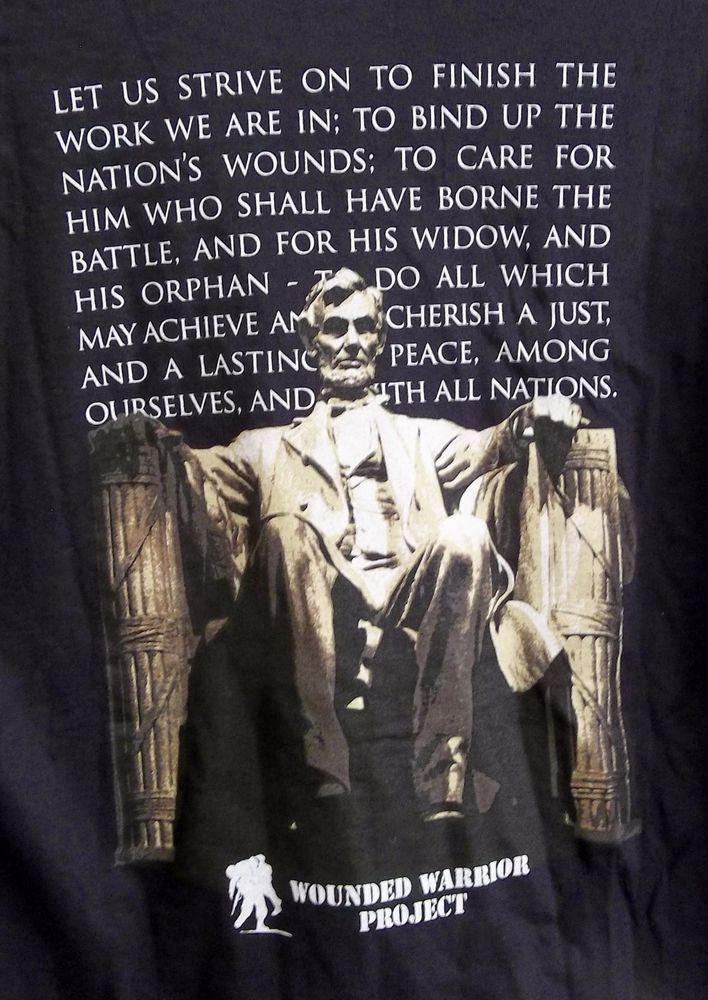 Wounded Warrior Project T-Shirt Adult M Medium Lincoln Memorial Quote New w/ Tag