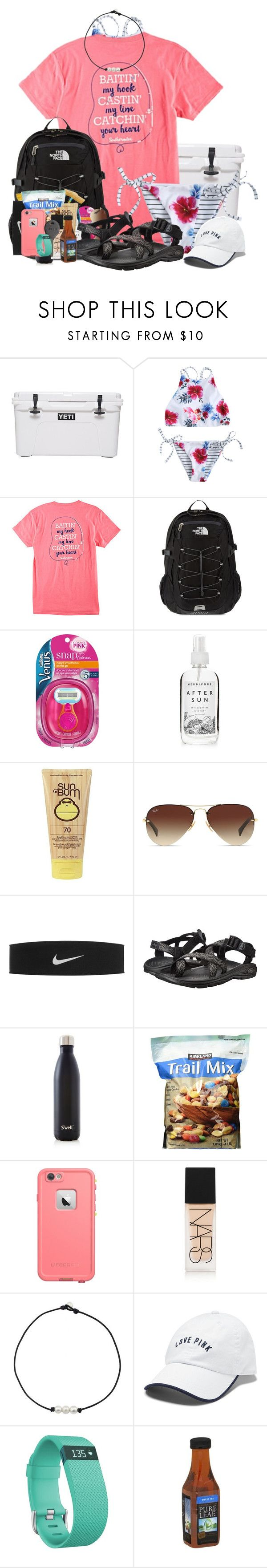 """Day at the lake!"" by rachelxchaney ❤ liked on Polyvore featuring The North Face, Gillette, Herbivore, Sun Bum, Ray-Ban, NIKE, Chaco, S'well, LifeProof and NARS Cosmetics"