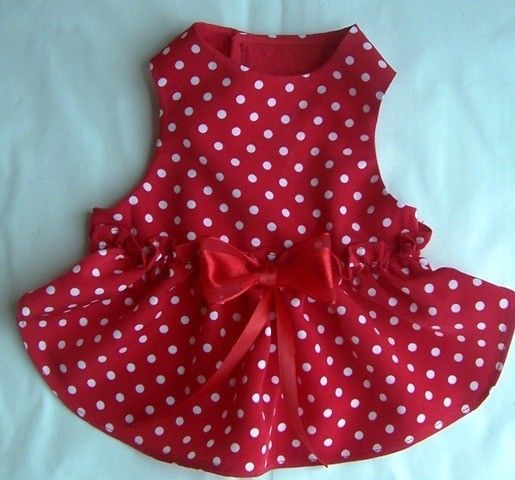 Red Polka Dot Dog Dress  red dog dress small dog by miascloset, $14.00