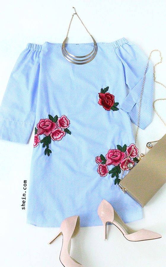 Romantic french style- Blue off shoulder stripe embroidery blouse outfit.