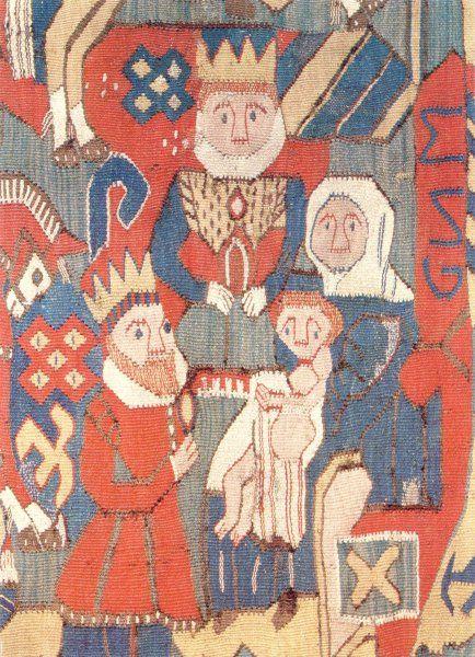 Norsk billedvev 1550-1800 / absolutetapestry.com Detalj fra De hellige tre konger og tilbedelsen av Maria og barnet, 1717, fra Skjåk i Gudbrandsdalen. Kunstindustrimuseet, Oslo.