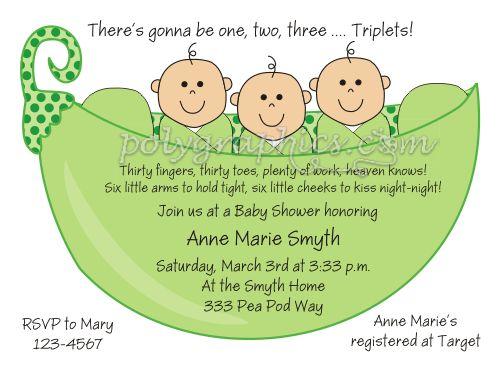 Best 25 babyshower triplet images on pinterest pregnancy twin 3 peas in a pod triplets baby shower card details filmwisefo