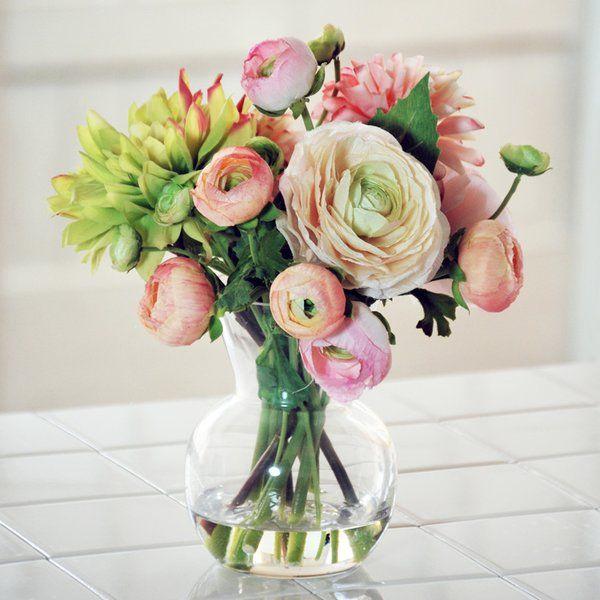 Dahlia And Ranunculus Floral Arrangement In Decorative Vase Silk Flower Arrangements Ranunculus Arrangement Flower Arrangements