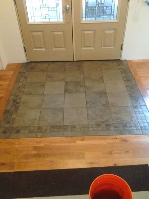 Transition tile to wood entry way google search for Entrance flooring ideas