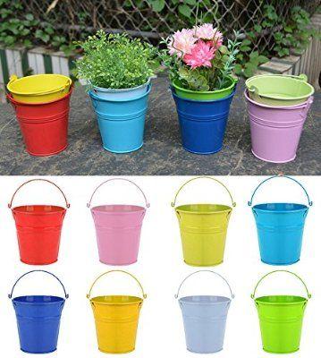Flower Pots , RIOGOO Iron Hanging Flower Pots, Garden Pots Balcony Planters Metal Bucket Flower Holders - Portable Style ( 8 PCS )