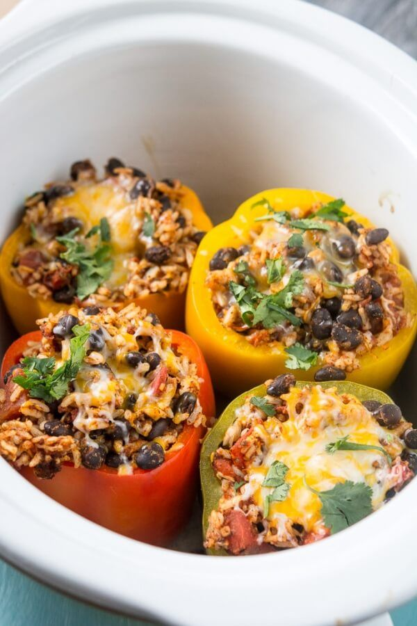 Slow Cooker Vegetarian Stuffed Peppers