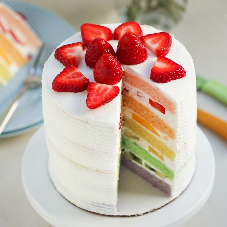 Chinese Bakery Rainbow Cake | Thirsty for Tea. Fluffy, light, and filled with fresh fruit!