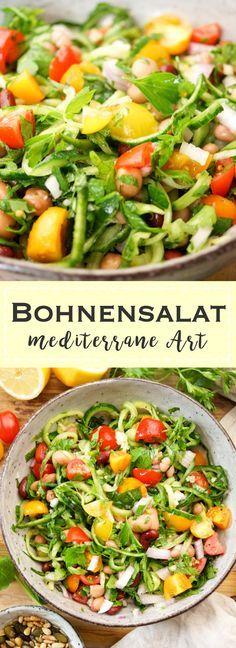 Ein einfaches Rezept für Bohnensalat mediterrane Art mit einem Mix aus Feuerbohnen, Kidney Bohnen, Navy Bohnen und Kichererbsen. Schnell gemacht und lecker. Gesunde vegan, vegetarisch, glutenfrei Rezept