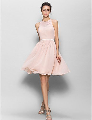 Lanting Knee-length Georgette Bridesmaid Dress - Pearl Pink A-line Jewel 2016 - $79.99