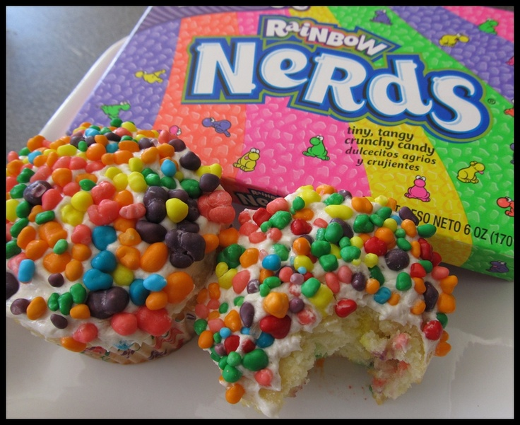 OMG!!!! Nerd Cupcakes-Did you know you can mix Nerds candy into your favorite cupcake batter to make an even better version of confetti cake