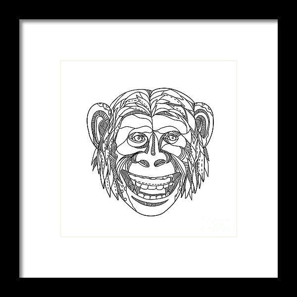Doodle Framed Print featuring the digital art Humanzee Smiling Doodle by Aloysius Patrimonio
