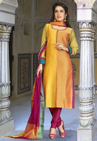 Woven Art Silk Straight Cut Suit in Ochre and Mustard
