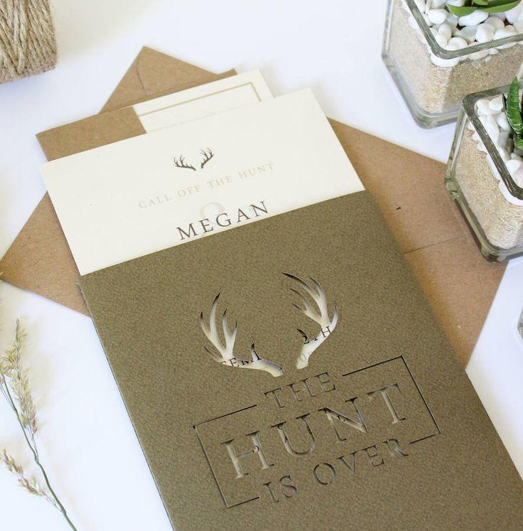 cool wedding card ideas%0A  u    The Hunt Is Over u     Stag Pocket Wedding Invitation Suite