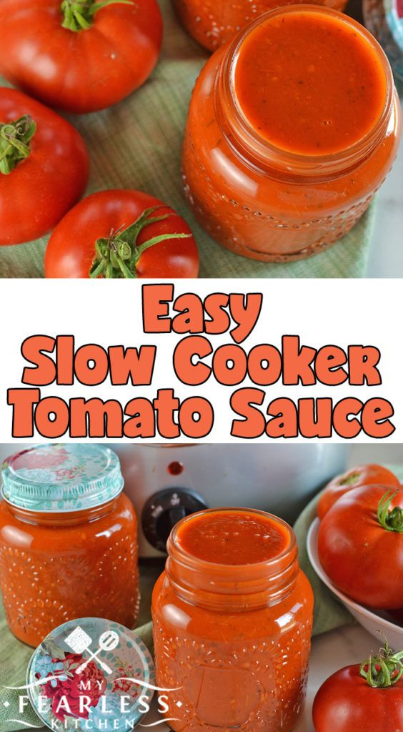 Easy Slow Cooker Tomato Sauce from My Fearless Kitchen. Make the most of your ga…