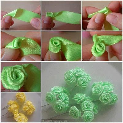 LOY HANDCRAFTS, TOWELS EMBROYDERED WITH SATIN RIBBON ROSES: FLORES DE CETIM PASSO A PASSO