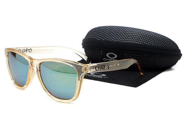 $10.99 Hot Season Oakley Frogskins Sunglasses Black Frame Transparent Lens Crazy Deal www.oakleysunglassescheapdeals.com