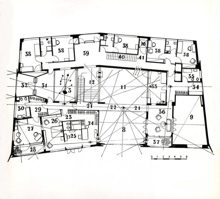 First floor, Villa Planchart - Gio Ponti - 1961