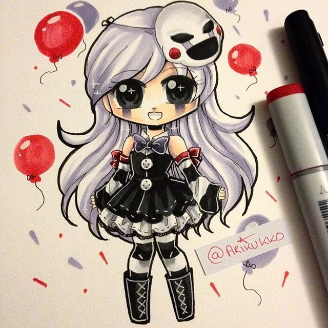 Chibi of a female-humanised Puppet from Five Nights at Freddy's! =] just had the urge to do more fnaf fanart, since i'm in a bit of an art block atm ;^; ~ #paigeeworld #copic #copicmarker #fanart #chibi #puppet #marionette #fnaf #fnaf2 #kawaii