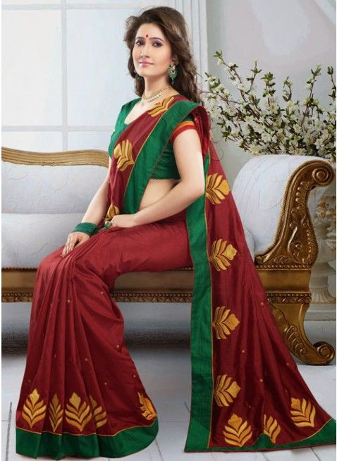 Gleaming Burgundy Embroidered Color Art Silk Based Embroidered #Saree #clothing #fashion #womenwear #womenapparel #ethnicwear