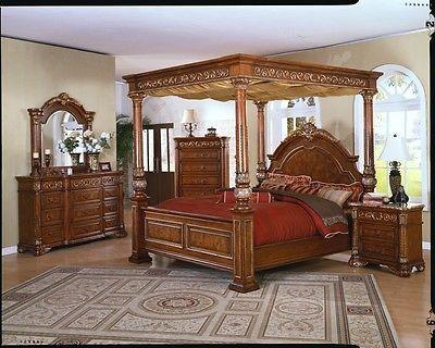 King Canopy Bedroom Sets | MASTER BEDROOM SET QUEEN KING CANOPY BED SETS  FURNITURE For Sale