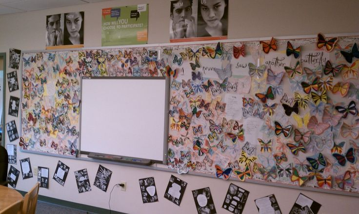 """Holocaust Studies: Wall of Remembrance used with poem """"I Never Saw Another Butterfly"""""""