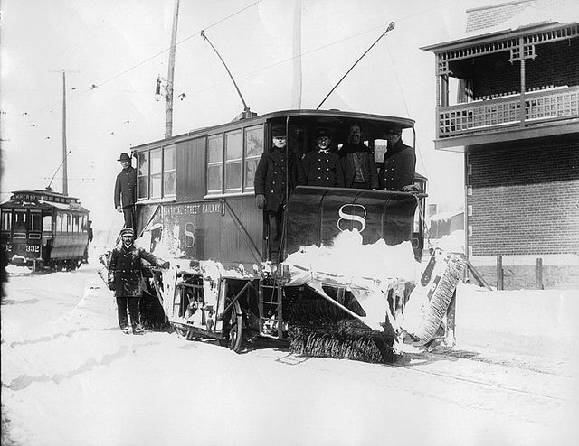 Electric snowplough, Montreal, QC, about 1895 | Flickr - Photo Sharing!