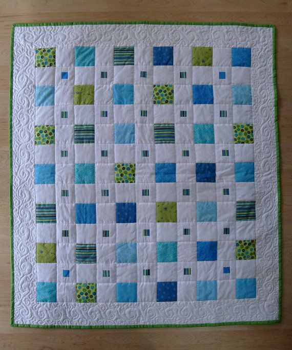 On SALE Green and Blue Boy BABY QUILT was 150.00 by ChickadeeWay