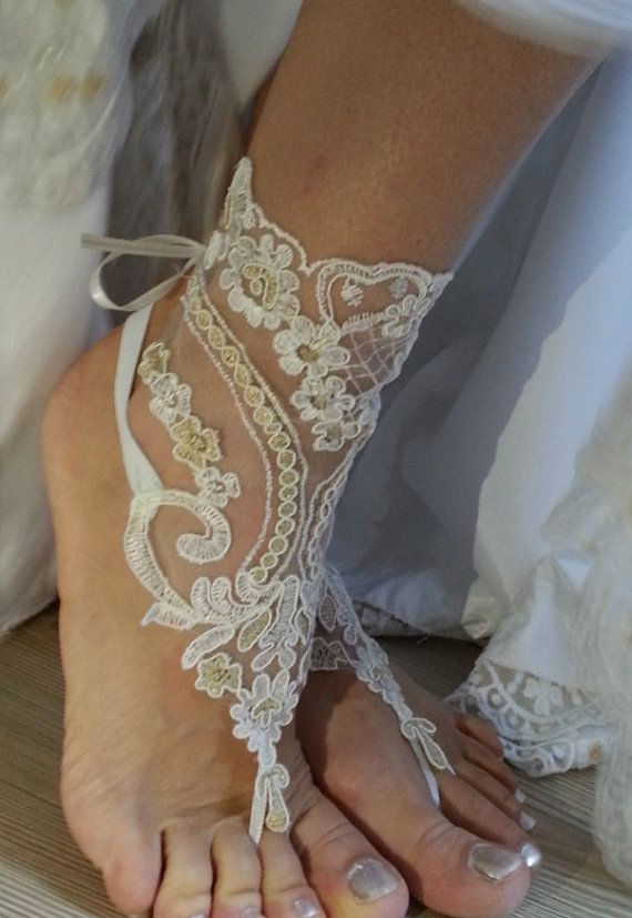 ivory gold Beach wedding barefoot sandals, Ivory Barefoot Sandals, Sexy, Yoga, Anklet , Bellydance, Steampunk, Beach Pool