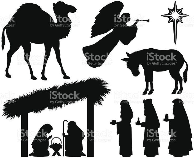 Natividade silhuetas vetor e ilustração royalty-free royalty-free