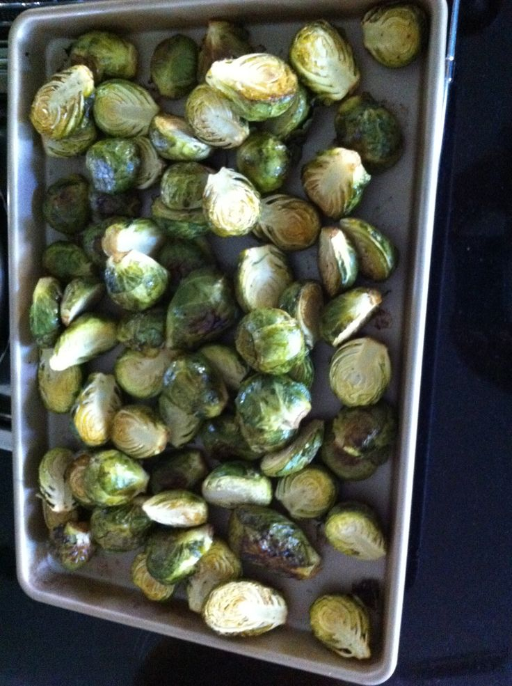 Oven Roasted Brussel Sprouts with Truffle Oil.
