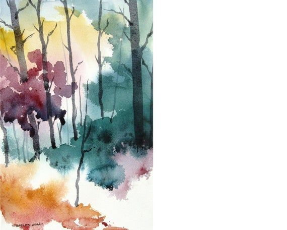 Couleurs D Automne Original Peinture A L Aquarelle Peinture A