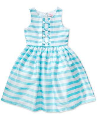 Sweet Heart Rose Girls' Woven Stripe Occasion Dress