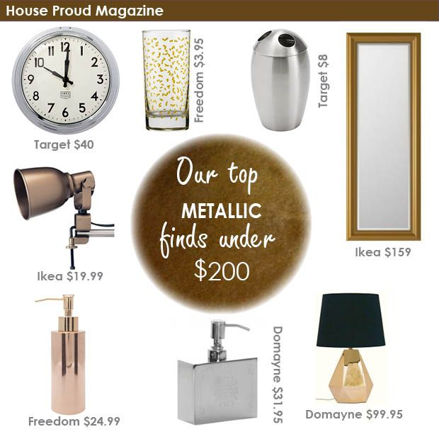 Metallic home decor finds from March 2015, by House Proud Magazine