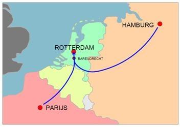 Roparun routes, startend vanuit Hamburg en Parijs en de finish in Rotterdam