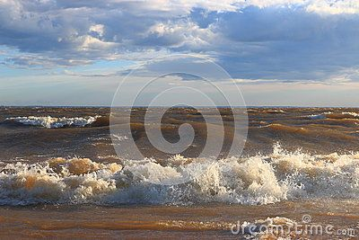 Surf wave rolls on a sandy beach in the Neva Bay on a sunny day . Saint-Petersburg, Russia