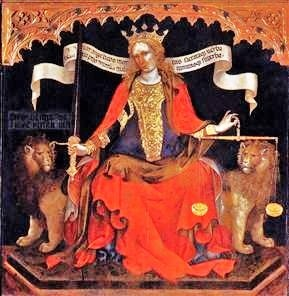 Jacobello del Fiore (Italian painter, c 1370-1439) Justice seated between the Archangels Michael & Gabriel, 1421.
