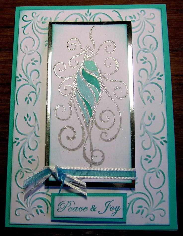 Christmas card using Kaszazz Embossing folder - Vine Edge.