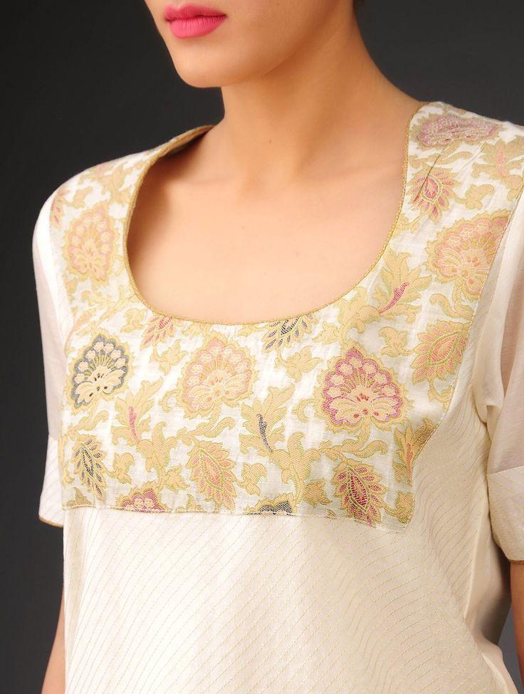 Buy Cream-Golden Chanderi Brocade-Zari Stitch Detailed Kurta Online at Jaypore.com