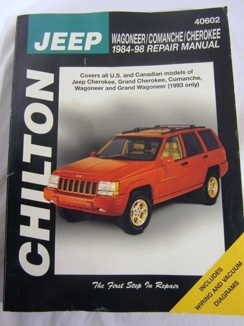 Chilton Repair Manual 40602 JEEP Wagoneer Comanche Cherokee 1984-1998 Chiltons #JeepCherokee #JeepRepair