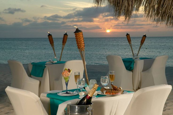 Passions on the Beach restaurant on Aruba's Eagle Beach - white tablecloth dining with your toes in the sand