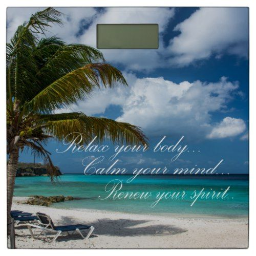 Bathroom Scale/Tropical Beach with Quote Bathroom Scale