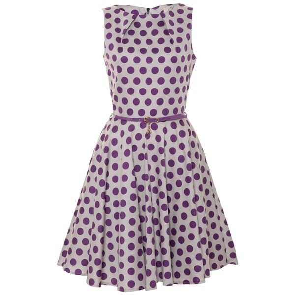 Closet Magenta Flared Polka Dot Dress found on Polyvore featuring polyvore, women's fashion, clothing, dresses, vestidos, polka dot, purple, плать�, magenta and polka dot print dress