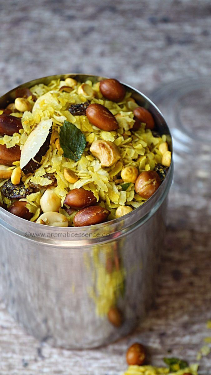 Poha chivda is basically a sweet and spicy, Indianized version of atrail mix. Poha ( flattened rice) is combined with dried fruits, coconut and raisins and tempered with mustard seeds, curry leaves and few other ingredients. Each household probably has their own little variation to this chivda.Mostly this is prepared as a savory snack during Diwali, which is distributed along with other delicious sweets to family, friends and neighbors. This time I thought of making some at home, to enjoy…