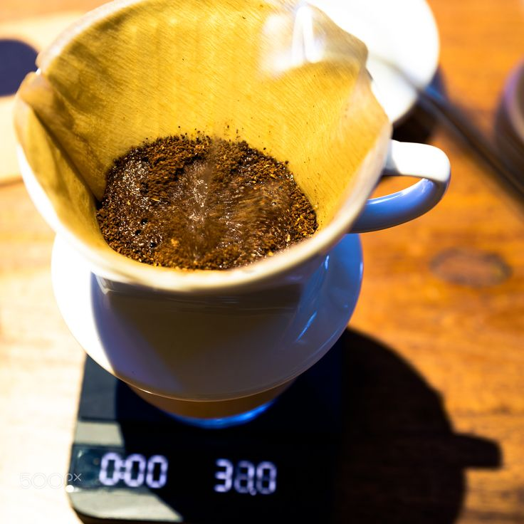 Pour Over - Prepareing moning cup with hand drip ( pour over) method.