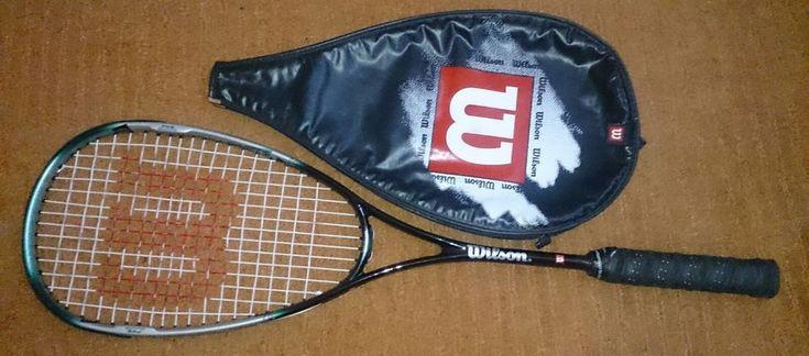 Wilson Graphite Pro Squash Racket + Cover Adult Size Ultra Black Green Design