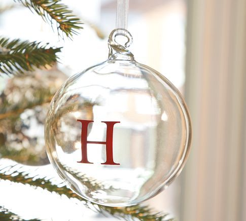 Monogram glass ornament. Love the elegance/simplicity of the pottery barn one. Do