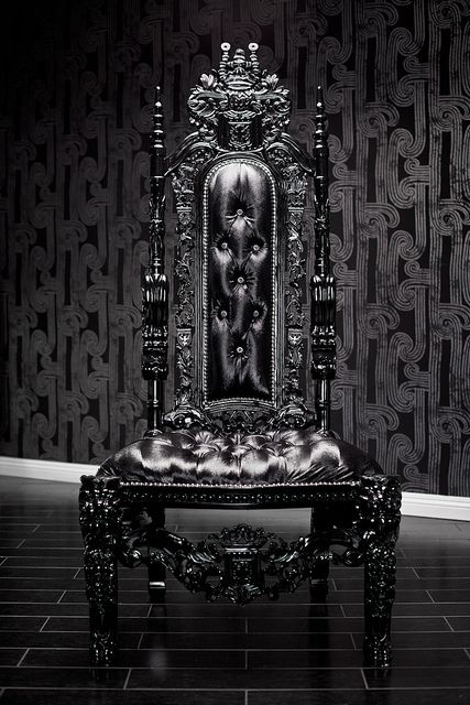 4060 BLACK LACQUER SKULL BAROQUE CHAIR by Diva Rocker Glam (310) 652-8711, via Flickr
