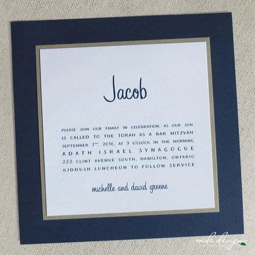 modern navy blue bar mitzvah invitation with handwritten typestyle