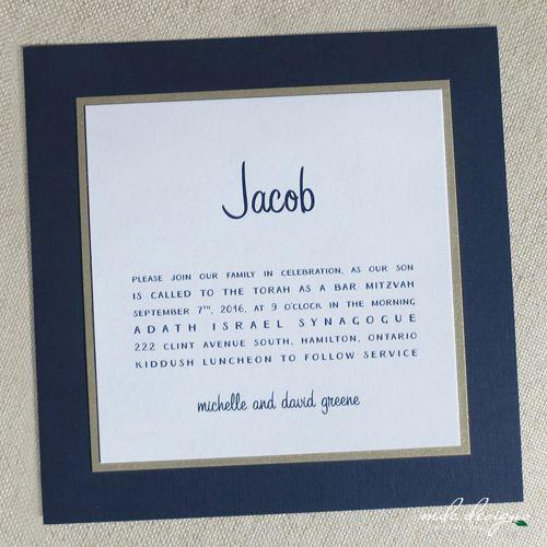 modern navy blue bar mitzvah invitation with handwritten typestyle