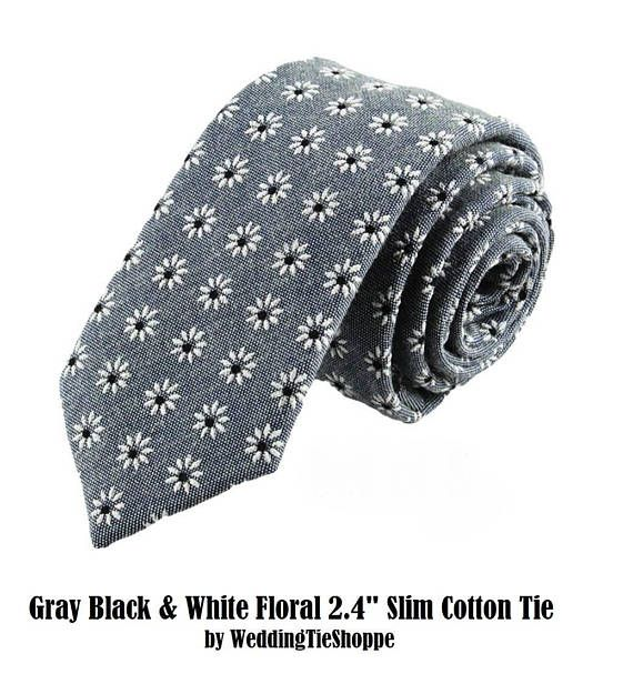 Grey Black White Floral Wedding Tie Cotton Gray Necktie Slim